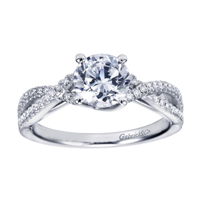 White Gold and Round Diamond Criss Cross Contemporary Engagement Ring