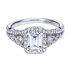 White Gold Filigree Diamond Halo Engagement Ring