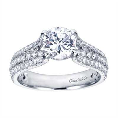 Triple Row White Gold Diamond Engagement Ring