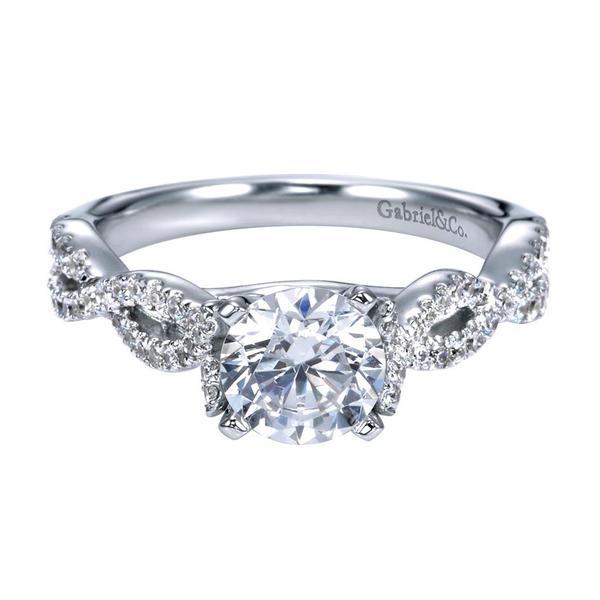 76b74840f455f3 14K White Gold Criss Cross Diamond Engagement Ring