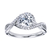 This unique diamond engagement ring fits a round center diamond and shimmers with one quarter carats of round brilliant diamonds that wrap around beautiful and sleek white gold or platinum.