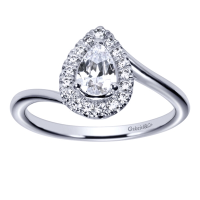 This delicious pear cut diamond engagement ring features a round brilliant diamond halo with a twisted and swirled white gold or platinum band in this diamond pear halo engagement ring.