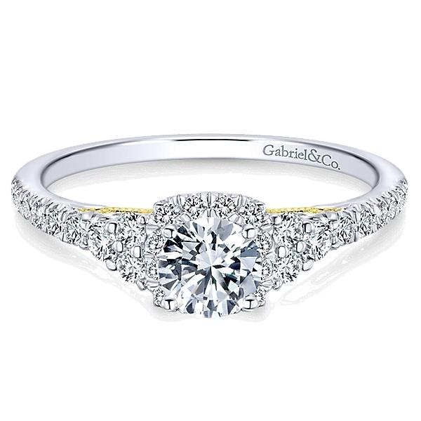 14k White Yellow Gold Diamond Halo Engagement Ring