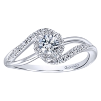 This twisted white gold diamond engagement ring comes with a round center diamond included, also featured with side round diamonds.