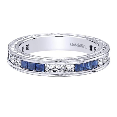 Beautiful sapphires, round brilliant diamonds and sleek 14k white gold combine to create this seductive and charming diamond stackable ring.