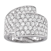 White Gold Pave Overlapping Diamond Ring