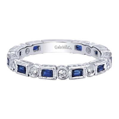 This sapphire and round diamond stackable ring designed in 14k white gold is just fine on its own, but can be partnered with other stackable rings to create wearable art