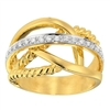 Two-Tone Gold Cross-Over Diamond Fashion Ring