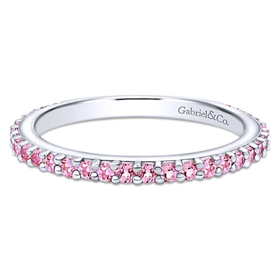 This pink stackable ring is in 14k white gold.