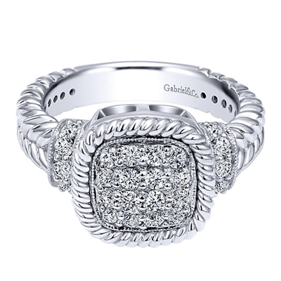 Braided 14k white gold and one half carats of diamonds meet in this white gold diamond fashion ring.
