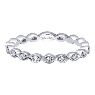 Diamond beads band together to create this beautifully styled 14k white gold diamond bead stack ring featuring over one quarter carat of round brilliant diamonds.