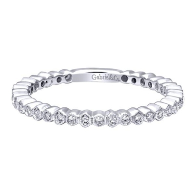 This diamond stackable ring is perfect for you if you want to start a collection or are looking for a nice compliment to a bigger centerpiece.  Get your 14k white gold diamond stackable ring today!