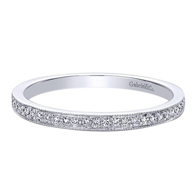 This clean and simple round brilliant diamond stackable ring is set in 14k white gold for a strong and durable finish.