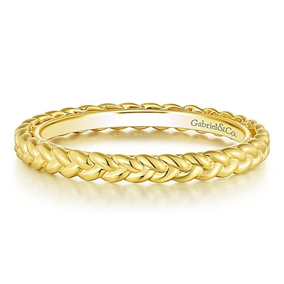 This stylish and simple 14k yellow gold stackable ring is twisted.