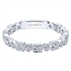 This 14k white gold diamond stackable ring shows 0.12 carats of diamonds.