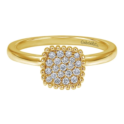 Set in 14k yellow gold, this diamond cluster fashion ring shimmers with 0.16 carats of round brilliant diamonds with a smooth 14k yellow gold shank.