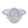 This 14k white gold diamond ring is ornate but boasts a modest price tag, with over one third carats of round brilliant diamonds and a decadent and elegant white gold setting.