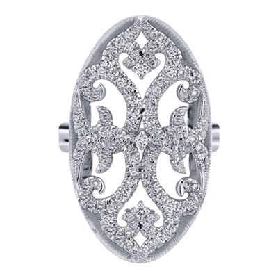 The diamond lace pattern in this well decorated fashion ring gleams with 3/4 carats of round brilliant diamonds.