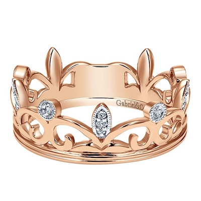 This 14k rose gold diamond stackable ring is fashioned like a crown.