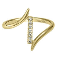 This 14k yellow gold fashion ring is studded with round brilliant diamonds that fits snugly near the tip of your finger.