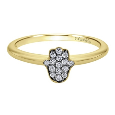 This yellow gold diamond hamsa ring shimmers with round brilliant diamonds and a simple and sleek 14k yellow gold band.