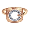 Brilliant and artistic, this stylish 14k rose gold brushed diamond ring features 0.17 carats of diamonds, wrapped on each side by a swirling shank.