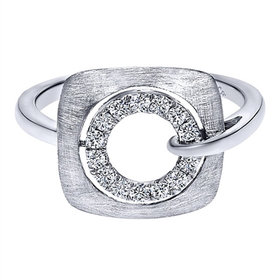 This brushed 14k white gold diamond fashion ring features a swirling shank of white gold that wraps around this fashion ring.