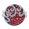 This spherical white gold, ruby and diamond fashion ring features beautifully set bright red gemstones and sparkling white diamonds in a clever pattern over 14k white gold.
