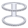 Exaclty one half carats in round brilliant diamonds brilliantly blaze their way over 14k white gold in this fashion inspired double diamond band ring.