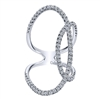 This 14k white gold diamond ring features fabulous loops of round brilliant diamond shine that total 1 carat.