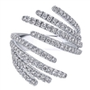 Get ready to soar with this 14k white gold floating feathers diamond fashion ring, offered in white gold and bustling with over one third carats of round brilliant diamonds.