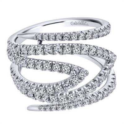 Diamond bands reminiscent of snakes climb wildly around your finger in this wildly unique 14k white gold diamond fashion ring.