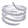 Watch as 14k white gold band spirals intertwine with rows of round brilliant diamonds in this fantastic 14k white gold diamond snake fashion ring.