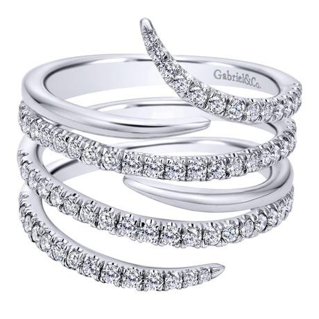 14K White Gold Spiral Snake Diamond Fashion Ring