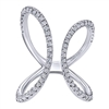 Sleek 14k white gold loops in a cool and fun design, using high quality round brilliant diamonds to complete this 14k white gold butterfly loop diamond fashion ring.