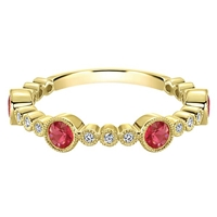 14k yellow gold ruby and diamond stackable ring.