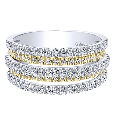 Separate bands of 14k yellow and 14k white gold are covered with 0.95 carats of round brilliant diamonds in 5 brilliant sections.