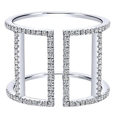 Diamonds wrap themselves lovingly around your finer with nearly one third carats of round brilliant diamonds in this eye catching diamond ring.