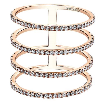 This 14k rose gold diamond ring features four rows of diamonds.