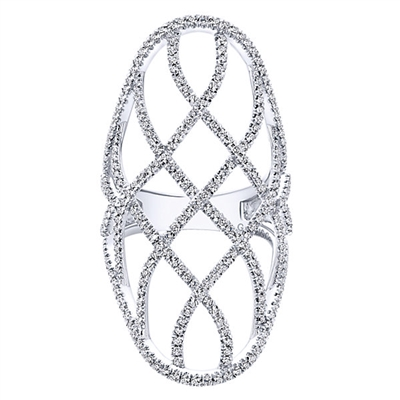 Featured in 14k white gold 1.43 carats of round brilliant diamonds line up to create this diamond fashion ring in lattice style.