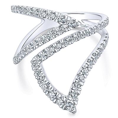 Bustling with round brilliant diamonds, this 14k white gold diamond fashion ring features a unique design and an unforgettable look in this diamond ring.
