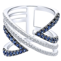 This 14k white gold ring showcases sapphires and diamonds.