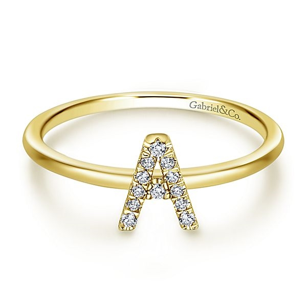 791e0264a013c 14K Gold Diamond Initial Stackable Ring