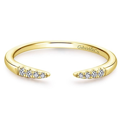 This open diamond stackable ring is in 14k yellow gold.