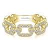 This 14k yellow gold stackable ring features shimmering round brilliant diamonds in a box link style.