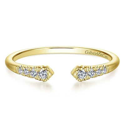 14k yellow gold diamond stackable ring.
