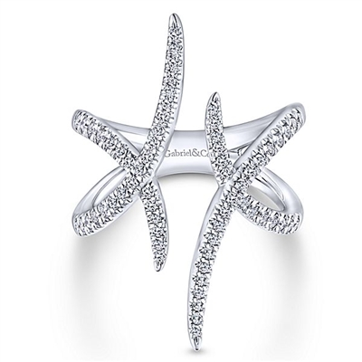 This 14k white gold diamond fashion ring features one half carats in diamonds.