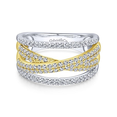 White and yellow gold bands twist with diamonds in this fashion ring.