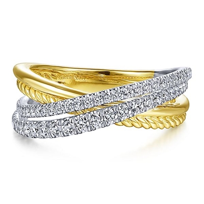 This 14k two tone diamond criss cross ring boasts 0.40 carats of diamond shine.