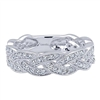Round brilliant diamonds tie in to 14k white gold with over one half carat in diamonds, enjoy this 14k white gold woven diamond stackable ring on its own or with other stackable rings to create a look uniquely you.
